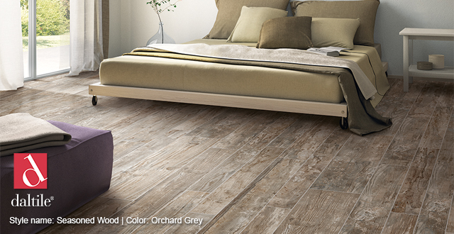 Porcelain tile from Daltile. Style name: Seasoned Wood | Color: Orchard Grey.